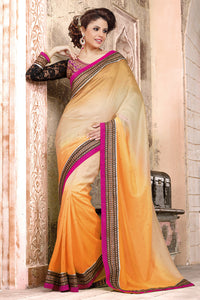 Bhelpuri Cream and Orange Georgette Saree with Black Net Jacquard Blouse Piece
