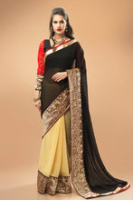 Load image into Gallery viewer, Bhelpuri Black and Beige Georgette Chiffon Saree with Black and Red Blouse Piece