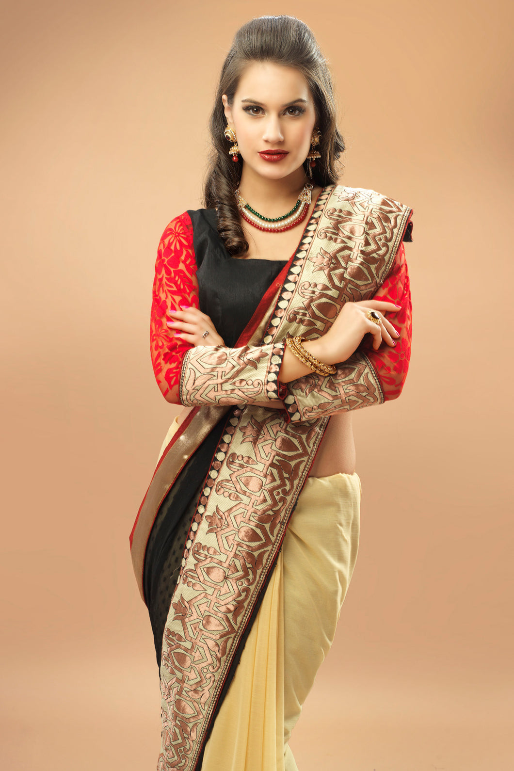 Bhelpuri Black and Beige Georgette Chiffon Saree with Black and Red Blouse Piece