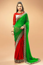 Load image into Gallery viewer, Bhelpuri Green and Red Georgette Satin Half and Half Saree with Silver Blouse Piece