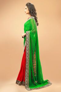 Bhelpuri Green and Red Georgette Satin Half and Half Saree with Silver Blouse Piece
