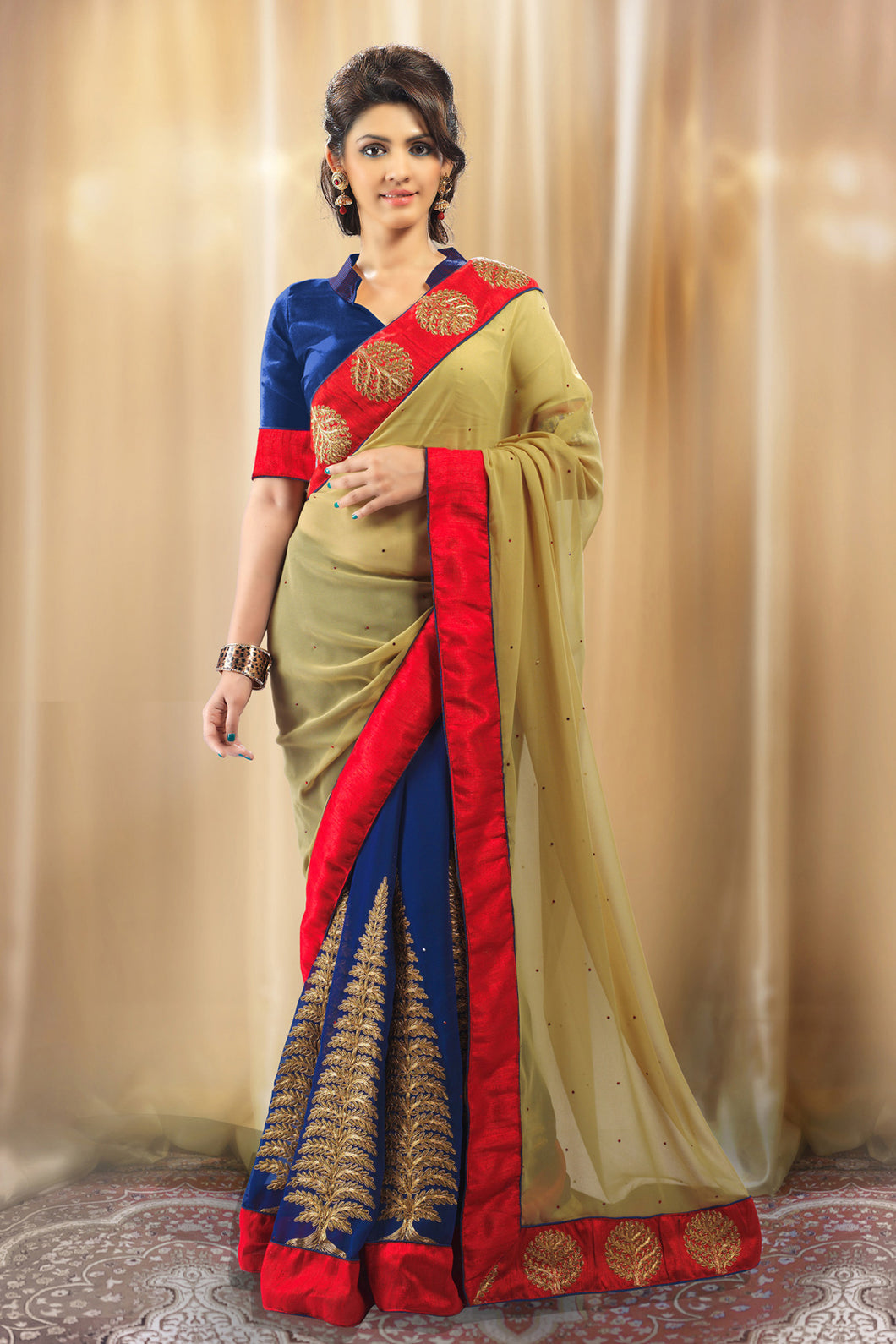 Bhelpuri Blue and Beige Georgette Saree with Stone Work