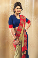 Load image into Gallery viewer, Bhelpuri Blue and Beige Georgette Saree with Stone Work