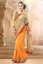 Load image into Gallery viewer, Bhelpuri Light Orange and Gold Net Georgette Saree Comprising Embroidered Work with Dupioni Blouse Piece