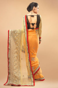 Bhelpuri Light Orange and Gold Net Georgette Saree Comprising Embroidered Work with Dupioni Blouse Piece