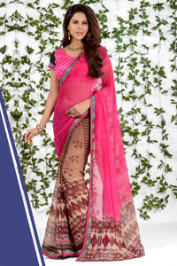 Bhelpuri Pink and Brown Georgette Printed Saree with Blouse Piece