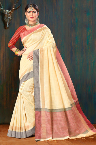 Bhelpuri Beige Jute Silk Embellished Saree with Blouse Piece