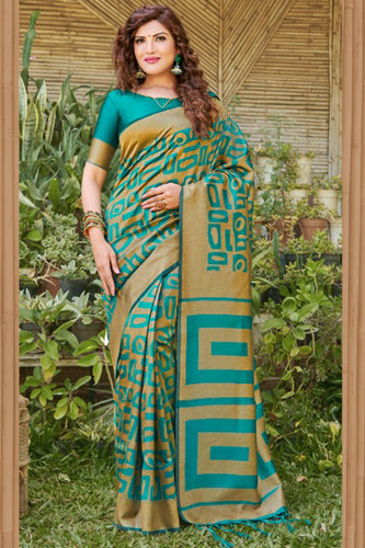 Bhelpuri Green Silk Woven Saree with Blouse Piece