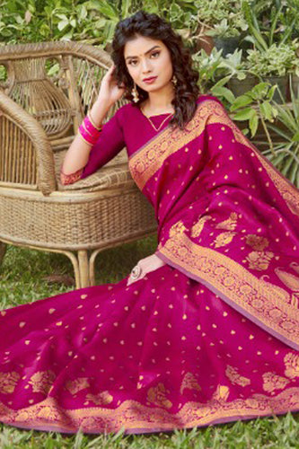 Bhelpuri Magenta Silk Woven Saree with Blouse Piece
