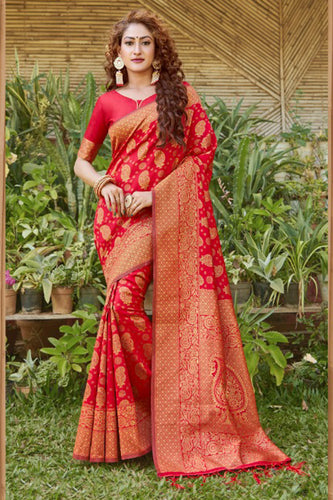 Bhelpuri Red Silk Woven Saree with Blouse Piece