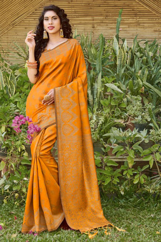 Bhelpuri Orange Silk Woven Saree with Blouse Piece