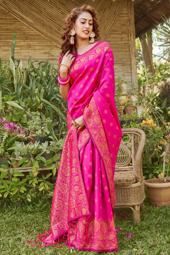 Bhelpuri Pink Silk Woven Saree with Blouse Piece