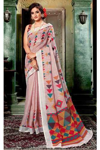 Bhelpuri Brown Linen Woven Saree with Blouse Piece