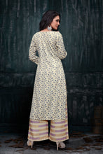 Load image into Gallery viewer, Admyrin Beige Rayon Burberry Floral Print Kurti and Palazzo Set