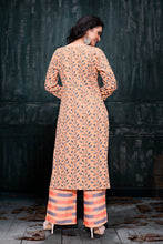 Load image into Gallery viewer, Admyrin Peach Rayon Burberry Floral Print Kurti and Palazzo Set