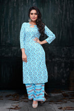 Load image into Gallery viewer, Admyrin Blue Rayon Burberry Floral Print Kurti and Palazzo Set