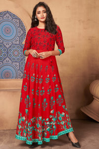 Admyrin Red Heavy Rayon Flaired Foil Printed Gown
