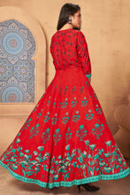 Load image into Gallery viewer, Admyrin Red Heavy Rayon Flaired Foil Printed Gown