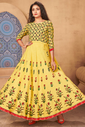 Admyrin Yellow Heavy Rayon Flaired Foil Printed Gown