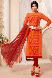Bhelpuri Orange Modal Silk Embroidered Designer Party Wear Salwar Suit