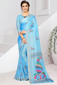 Bhelpuri Aqua Linen Woven Saree with Blouse Piece
