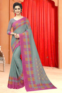 Bhelpuri Green & Pink Soft Cotton Woven Saree with Blouse Piece