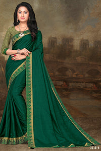 Bhelpuri Green Vichitra silk Lace Work Traditional Saree with Blouse Piece