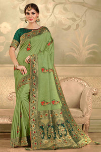 Bhelpuri Green Poly Silk Embroidered with jaqcard Pallu Traditional Saree with Blouse Piece