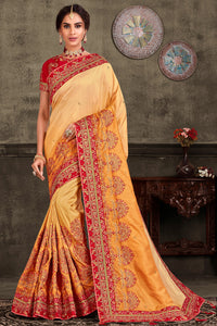 Bhelpuri Yellow Poly Silk Heavy Embroidered Traditional Saree with Blouse Piece