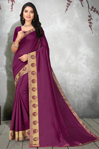 Bhelpuri Purple Vichitra silk Lace Work Traditional Saree with Blouse Piece