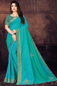 Bhelpuri Turquoise blue Vichitra silk Lace with stone Work Traditional Saree with Blouse Piece