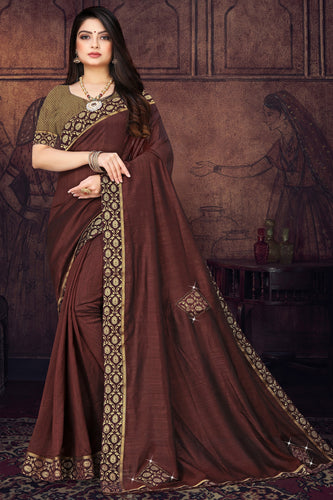 Bhelpuri Coffee Vichitra silk Lace with stone Work Traditional Saree with Blouse Piece