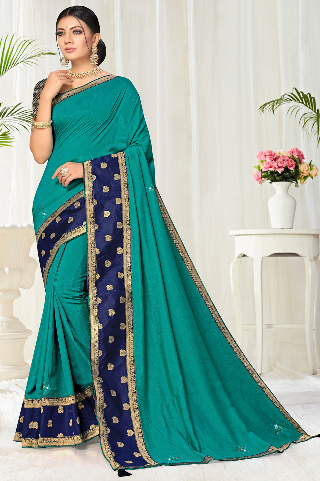 Bhelpuri Turquoise Green Vichitra silk Lace with stone Work Traditional Saree with Blouse Piece