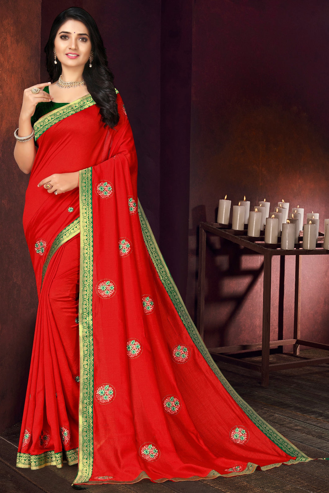 Bhelpuri Red Vichitra silk Lace with stone Work Traditional Saree with Blouse Piece