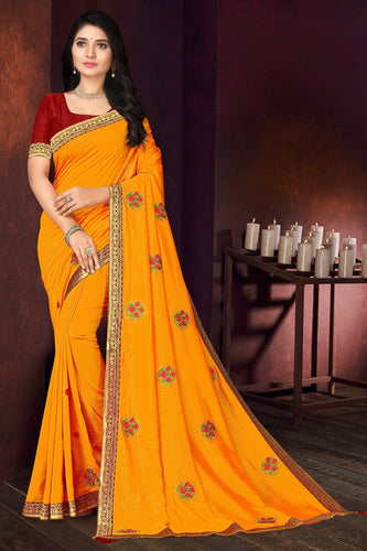Bhelpuri Yellow Vichitra silk Lace with stone Work Traditional Saree with Blouse Piece