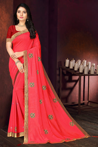 Bhelpuri Pink Vichitra silk Lace with stone Work Traditional Saree with Blouse Piece