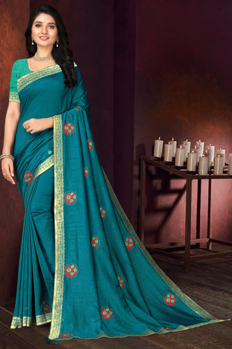Bhelpuri Teal Blue Vichitra silk Lace with stone Work Traditional Saree with Blouse Piece