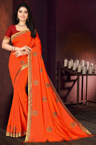 Bhelpuri Orange Vichitra silk Lace with stone Work Traditional Saree with Blouse Piece