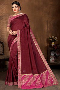 Bhelpuri Maroon Vichitra silk Lace with stone Work Traditional Saree with Blouse Piece