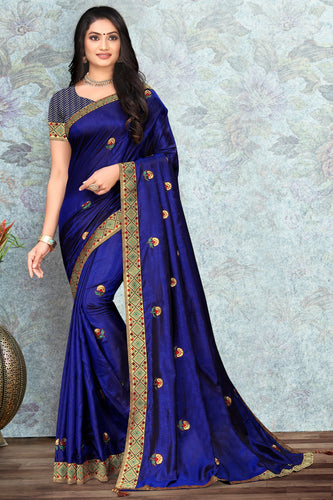 Bhelpuri Royal Blue Vichitra silk Lace with stone Work Traditional Saree with Blouse Piece