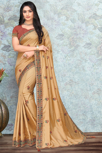Bhelpuri Gold Vichitra silk Lace with stone Work Traditional Saree with Blouse Piece