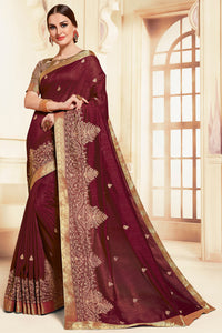 Bhelpuri Burgundy Poly Silk Embroidered Traditional Saree with Blouse Piece