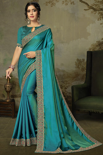 Bhelpuri Turqouise Blue Poly Silk Embroidered Traditional Saree with Blouse Piece