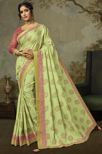 Bhelpuri Light Green Poly Silk Embroidered Traditional Saree with Blouse Piece