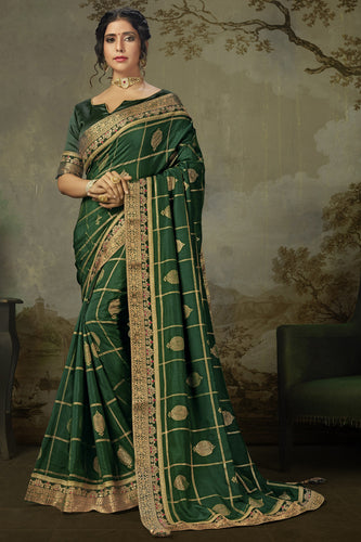 Bhelpuri Green Poly Silk Embroidered Traditional Saree with Blouse Piece