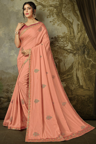 Bhelpuri Pink Poly Silk Embroidered Traditional Saree with Blouse Piece