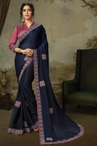 Bhelpuri Navy Blue Poly Silk Embroidered Traditional Saree with Blouse Piece