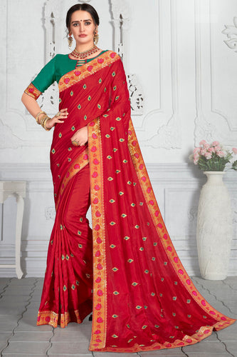 Bhelpuri Red Poly Silk Embroidered Traditional Saree with Blouse Piece