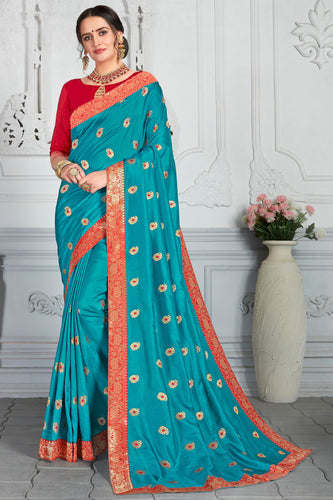 Bhelpuri Blue Poly Silk Embroidered Traditional Saree with Blouse Piece