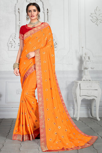 Bhelpuri Mustard Poly Silk Embroidered Traditional Saree with Blouse Piece